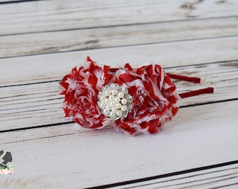Handcrafted Red and White Candy Cane Inspired Headband - Fancy Pearl Rose Headband - Adult Headband - Christmas Toddler Headband -Peppermint