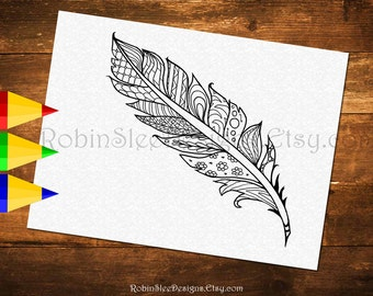 Printable Feather Colouring Page, Adult Coloring Pages, JPEG and PDF files, Art Therapy, Feather Illustration, Downloadable Gift