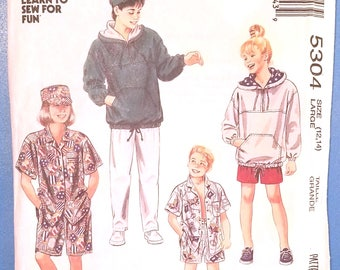 McCall's 5304 - Boys' and Girls' Sweatshirt, Shirt, Pants, Shorts, and Hat Pattern - Size Large 12 to 14 - Hoodie Pattern
