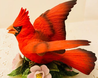 Vintage Ceramic Lenox Red Male Cardinal Figurine with Pink Flowers 1987