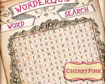 Alice in Wonderland WORD SEARCH, games, party decoration, digital party printable, instant download party game