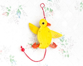 Canary Jumping Jack Puppet - Yellow Bird Pull String Toy - Vintage Miniature