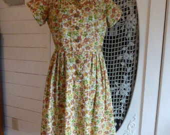 Vintage 1950's Cotton Day Dress with Autumn Watercolor Flowers