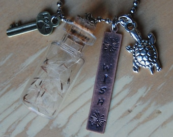Wishes in a Bottle, Turtle Desert Tortoise, Stamped WISH, Mini Key Necklace