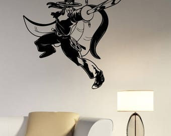 Zorro Wall Decal Removable Vinyl Sticker Swordsman Vintage Super Hero Art Retro Movie Decorations for Home Room Bedroom Decor zr1
