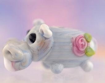 Halley.... lampwork hippo bead............ sra