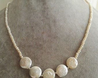 Pearl Necklace- coin pearl necklace, white baroque pearl necklace, 2 mm pearl necklace, 14 mm coin pearl