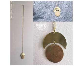 Moon Duet — mixed metals brass gold long boho lunar minimalist full eclipse crescent phases layering nashville simple unisex long