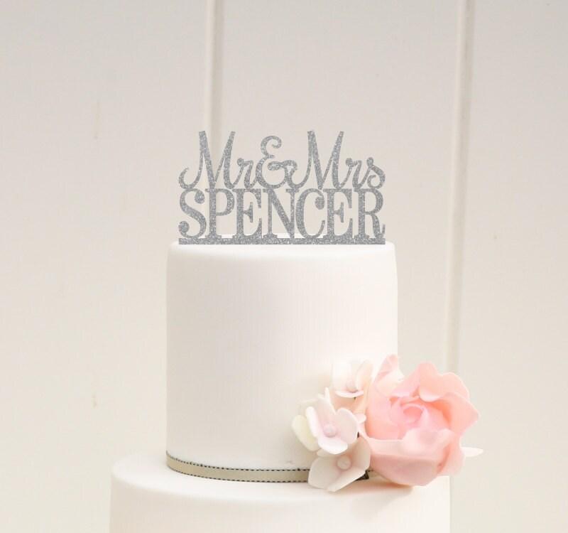 Custom Wedding Cake Topper Glitter Wedding Cake Topper Mr