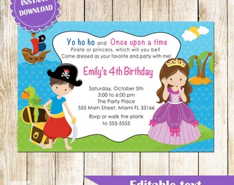 Fairy and dragon invitation printable kids birthday party pirate princess invitation printable personalized kids birthday party invites editable file african american or caucasian stopboris