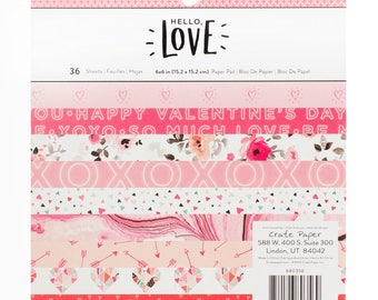Crate Paper Hello Love 6x6 Paper Pad -- MSRP 6.00