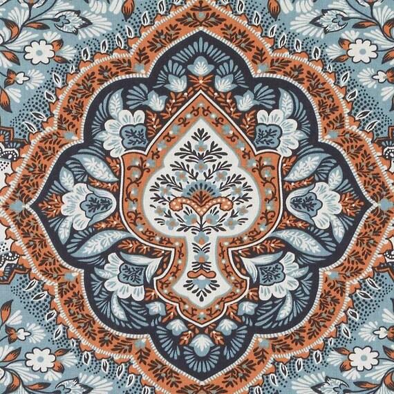 Aqua Coral Fabric Large Scale Aqua Blue Medallion Upholstery