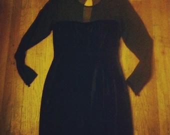 Black Velvet Shear Top Dress