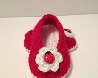 Crochet Baby Booties, Ballet Slippers, 0 to 3 Months