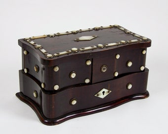 Antique Rosewood Jewelry Box Applied Mother of Pearl Decoration Fold Out Drawers