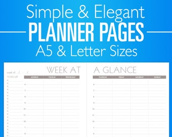 Printable Planner Pages - Weekly Daily Monthly Planner - Pink Teal Purple Color Schemes - Simple Minimal PDF A5 Letter Size Calendar Goals