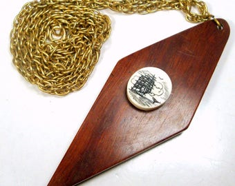 SALE, Nautical Pendant, Faux Scrimshaw on Wood with a Chain, Tall Schooner, Whale Tail on Cream Color Resin, Sailing Ship  Necklace