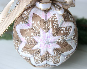 Quilted Christmas Ornament Ball-Champagne-White-Snowflakes-Champagne Wishes
