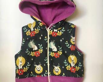 Baby Girl Hooded Fleece Vest 12-18 months