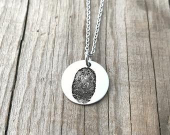 Fingerprint Jewelry - Memorial Necklace - Fingerprint Round Necklace - Actual Fingerprint - Minimalist - Personalized Fingerprint -  1493