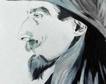 Custom monochrome portrait - acrylic painting