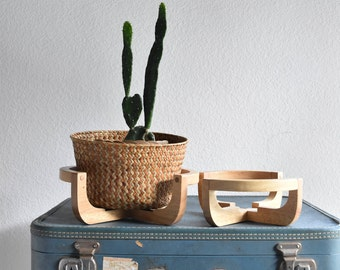 repurposed wooden potted plant holders / plant stands