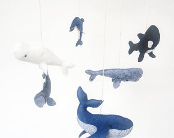 Cetacean Mobile including a Blue Whale, a Humpback Whale, a Sperm Whale, a Beluga Whale, an Orca and a Dolphin