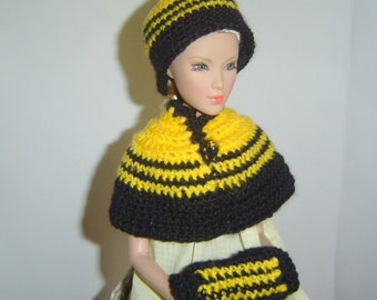 0054 Victorian 3PC Pattern Doll Caplet Flapper Beanie Muff Set, Fashion Royalty and other 16 inch Dolls