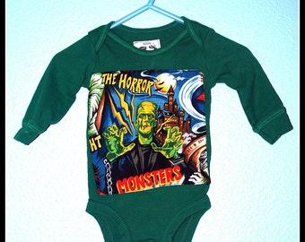 Boys Rockabilly Frankenstein Onsie....size 3 months