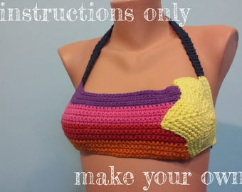 INSTRUCTIONS ONLY - Crochet your own 80s Shooting Star Cotton Bikini Top Summer Sexy Festival Beach Pool Party Pattern Download