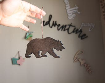 Bear Ornament, Rustic Ornament, California ornament, California bear ornament, Wood Bear Ornament, Christmas Ornament, Rustic Bear