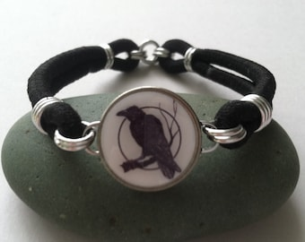 Raven Moon Charm Dime Stretch Bracelet one size fits most Adults Black Bird Crow