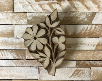 Vintage Wood Printing Block Stamp Made in India Floral/Flower Design (#14)