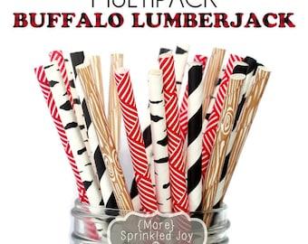 BUFFALO LUMBERJACK Paper Straws, Party Decor, Wood Straws, Buffalo Plaid , Woodland Theme, Birch, Birthday Baby Shower, Wedding, Baby