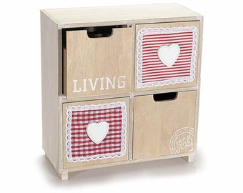 Natural Wood Hearts Chest of Drawers