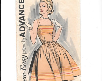 "Advance 2837 / 1950s 1960s Border Print Sun Dress Tie Waist Full Skirt / Vintage Misses' Dress Size: 14 Bust 34"""