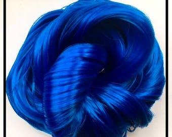 Galactic Blue Nylon Doll Hair