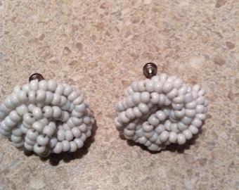 Vintage white beaded earrings
