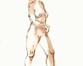 Dessin de Nu, Female Nude Figure Drawing, Brown Ink on Paper, Stepping Ahead, Standing Figure, Figurative Art,  Ink Wash Drawing, Fine Art