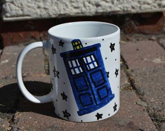 """Handmade """"Doctor Who"""" Tardis Mug With Slogan"""