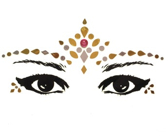 Gold face stickers jewels, gems, festival, rave, makeup, bindis, rhinestones glitter decals, adhesive bling sparkle, metallic tattoos tattoo