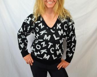 Vintage 80s Alphabet ABC Knit Black White Pullover Sweater