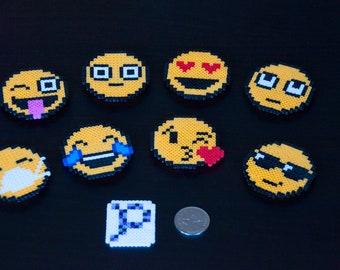Emoji Magnets, Made with Mini Perler Beads