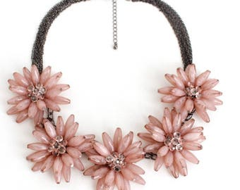 Beautiful pink flower statement necklace