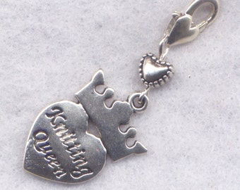 Knitting Heart Stitch Marker Clip Knitting Queen Knitter Love to Knit Heart Single /SM221B