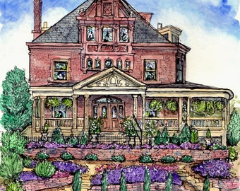 HOUSE PORTRAIT in Pen&Ink and Watercolor,Home Portrait,Handpainted Custom House Portraits,House Painting,Unique Gift Idea