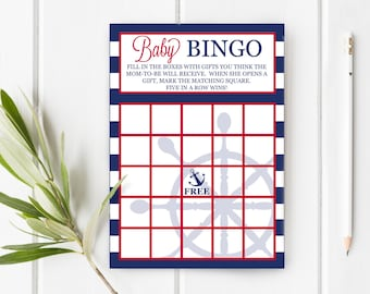 Baby Bingo Nautical Baby Shower, Instant Download, Printable, Ahoy It's A Boy Baby Shower, 5x7 Item 205