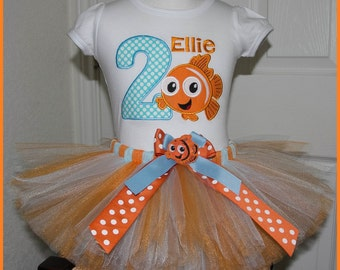 Finding Nemo Birthday Tutu outfit Personalized with name Orange Clown Fish orange and light blue