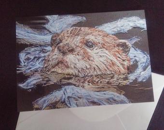 Otter Art blank greeting card