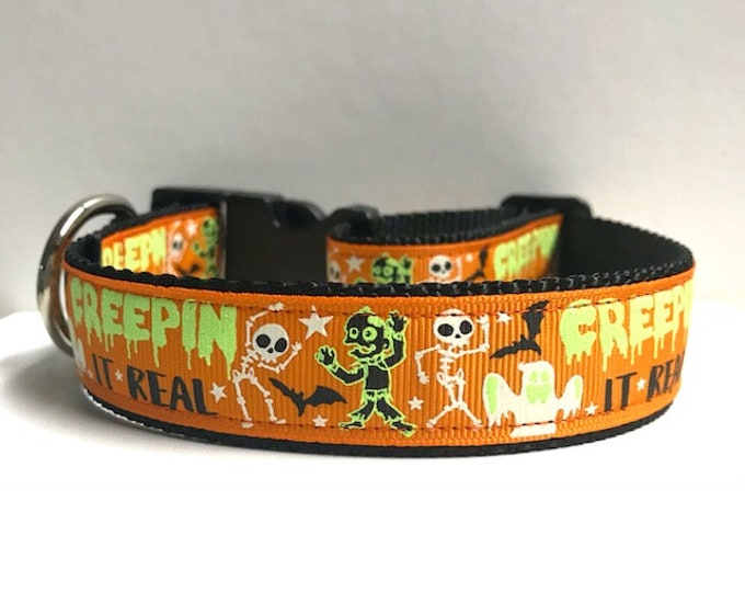 """1"""" Creepin it real Collar, Leash Available"""